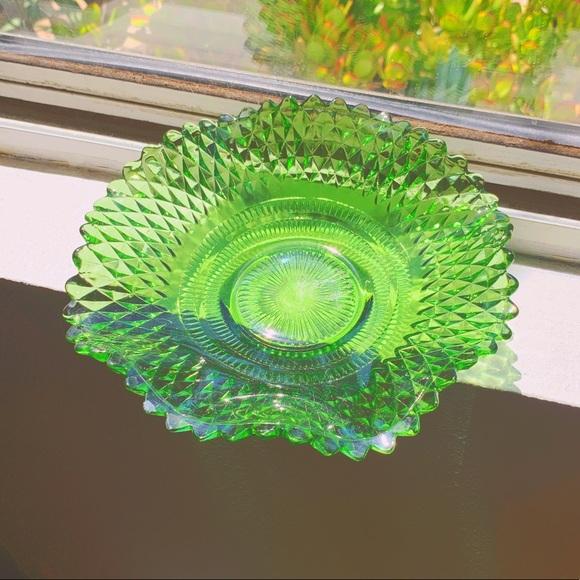 VTG Crystal Green Diamond Trinket Dish / Ash Tray